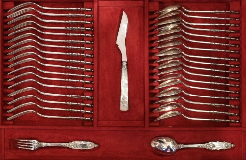 19th century - Cutlery set  in sterling silver 188 pieces by PUIFORCAT