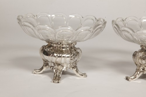 Pair of silver cups and BACCARAT crystal by GUSTAVE ODIOT - Antique Silver Style Napoléon III