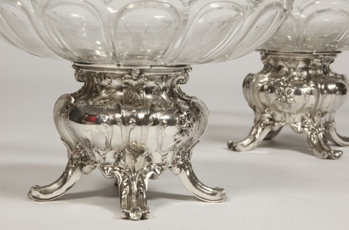 Pair of silver cups and BACCARAT crystal by GUSTAVE ODIOT -