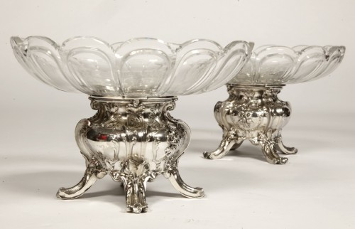 19th century - Pair of silver cups and BACCARAT crystal by GUSTAVE ODIOT
