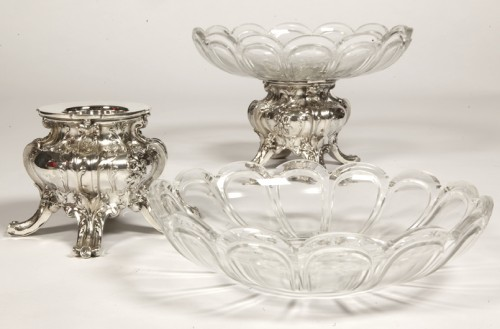 Pair of silver cups and BACCARAT crystal by GUSTAVE ODIOT - Napoléon III