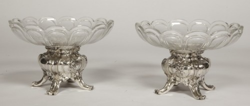 Antiquités - Pair of silver cups and BACCARAT crystal by GUSTAVE ODIOT
