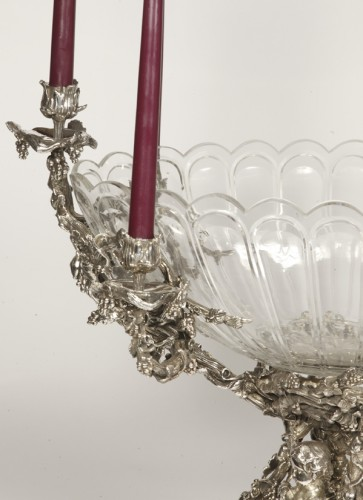 Antique Silver  - Centerpiece in silvered bronze XIXe and crystal attributed to Henri Picard.
