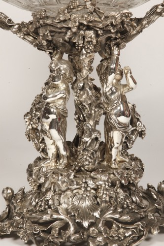 19th century - Centerpiece in silvered bronze XIXe and crystal attributed to Henri Picard.