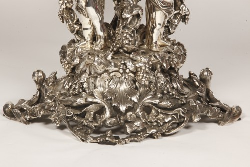 Centerpiece in silvered bronze XIXe and crystal attributed to Henri Picard. -