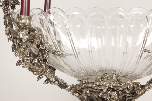 - Centerpiece in silvered bronze XIXe and crystal attributed to Henri Picard.