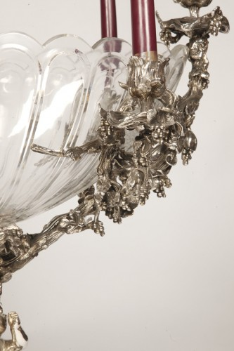 Antiquités - Centerpiece in silvered bronze XIXe and crystal attributed to Henri Picard.