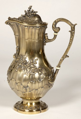 Antique Silver  - 19th century vermeil wine pitcher by Maison ODIOT