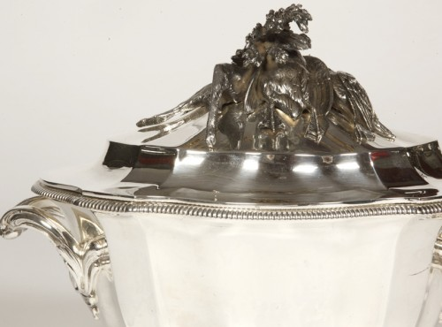 Soup tureen covered in silver by SOUCHE LAPPARRA - Antique Silver Style Art Déco