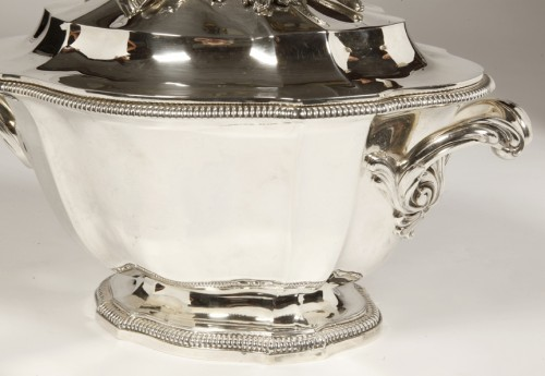 20th century - Soup tureen covered in silver by SOUCHE LAPPARRA