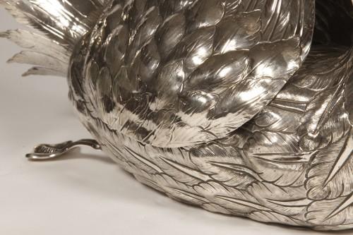 20th century - Jardiniere in silver swan-shaped twentieth