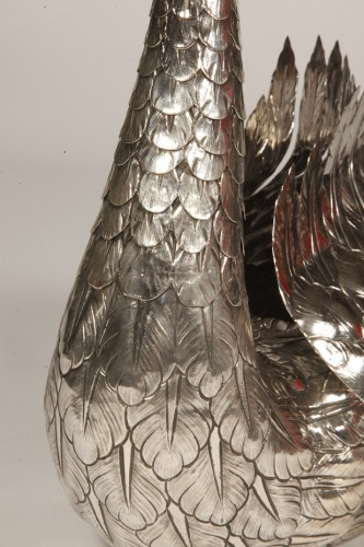 Jardiniere in silver swan-shaped twentieth - 50