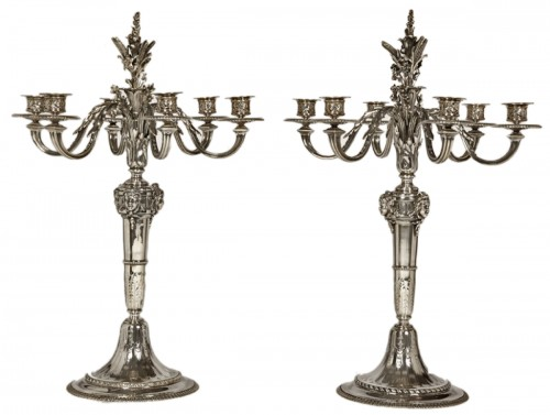 Pair of candelabras in silver by froment-meurice