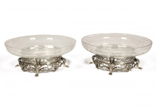 Pair of silver crystal cups by CARDEILHAC