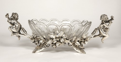 Jardinière in silvered bronze and crystal by C. CHRISTOFLE - Antique Silver Style Napoléon III