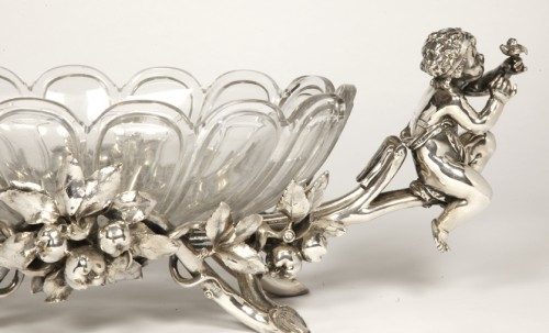Jardinière in silvered bronze and crystal by C. CHRISTOFLE -