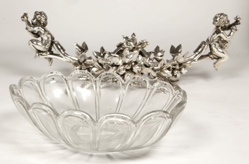 19th century - Jardinière in silvered bronze and crystal by C. CHRISTOFLE