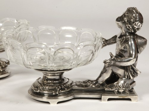 Antiquités - Silvered bronze cup and cristal by C. CHRISTOFLE
