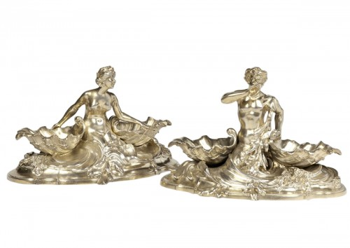 A pair of larg SILVER-GILT  double SALT-CELLARS  by VICTOR BOUDET, PARIS