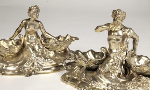 Antique Silver  - A pair of larg SILVER-GILT  double SALT-CELLARS  by VICTOR BOUDET, PARIS