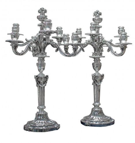 Pair of Solid Silver Candelabra 19th - Emile Puiforcat