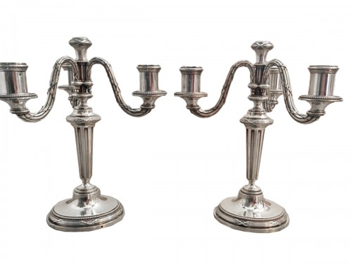 A Pair of candelabra in sterling silver by KELLER silversmith's