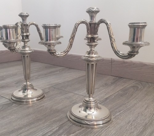 Antiquités - A Pair of candelabra in sterling silver by KELLER silversmith's