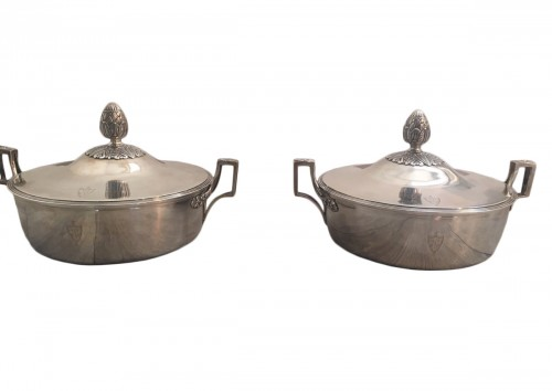 Pair of 19th century solid silver legumiers