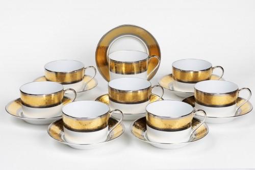"""Set of eight tea cups Haviland """"Grand Palais Or"""" - Porcelain & Faience Style Art nouveau"""