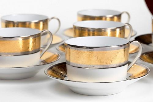"""Antiquités - Set of eight tea cups Haviland """"Grand Palais Or"""""""