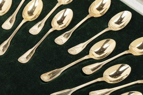 "12 Vermeil mocha spoons in their box ""Minerve""  - Art nouveau"