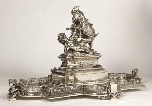 Silver table centre known as ''les enfants au chevreau''  by fanniere  - Antique Silver Style Napoléon III