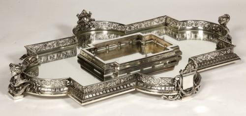 Silver table centre known as ''les enfants au chevreau''  by fanniere  -