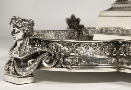Silver table centre known as ''les enfants au chevreau''  by fanniere  - Napoléon III