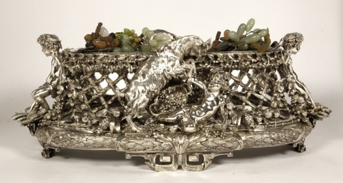 Bronze silver-plated ovale jardinière by the Silversmith FANNIERE FRERES - Antique Silver Style Napoléon III
