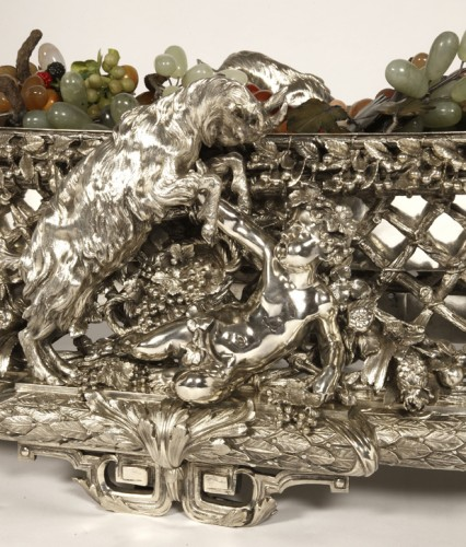 19th century - Bronze silver-plated ovale jardinière by the Silversmith FANNIERE FRERES
