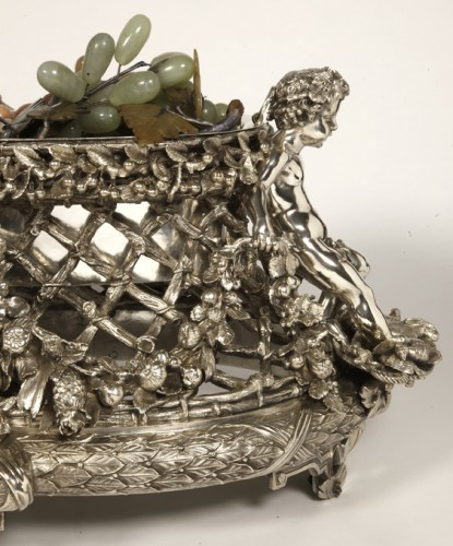 Bronze silver-plated ovale jardinière by the Silversmith FANNIERE FRERES - Napoléon III