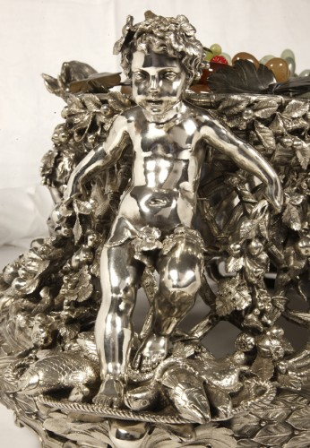 Antiquités - Bronze silver-plated ovale jardinière by the Silversmith FANNIERE FRERES