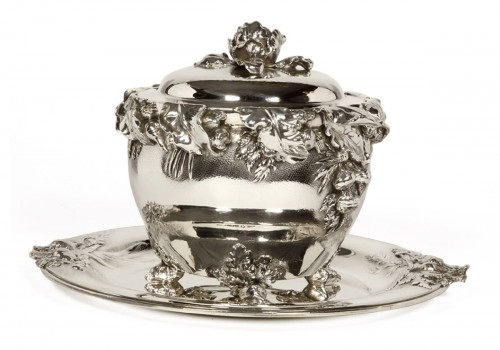 "silver soup tureen, cover and stand know, as ""La soupe de légumes"", by Charles Christofle"