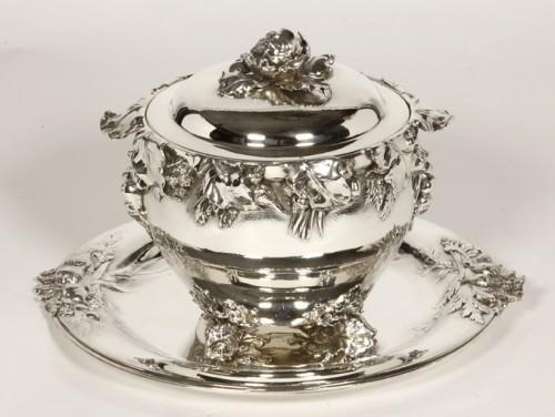 "silver soup tureen, cover and stand know, as ""La soupe de légumes"", by Charles Christofle - Antique Silver Style Art nouveau"