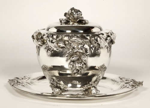 "Antique Silver  - silver soup tureen, cover and stand know, as ""La soupe de légumes"", by Charles Christofle"