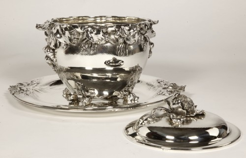 "silver soup tureen, cover and stand know, as ""La soupe de légumes"", by Charles Christofle -"