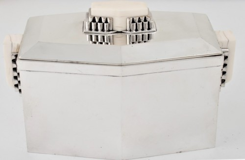 CARDEILHAC Covered box in solid silver and ivory ART DECO period  - Antique Silver Style Art Déco