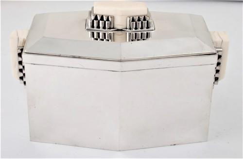 Antique Silver  -  CARDEILHAC Covered box in solid silver and ivory ART DECO period