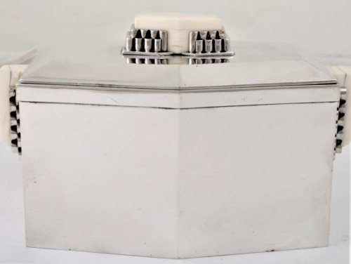 CARDEILHAC Covered box in solid silver and ivory ART DECO period  -