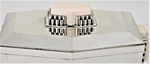 CARDEILHAC Covered box in solid silver and ivory ART DECO period  - Art Déco