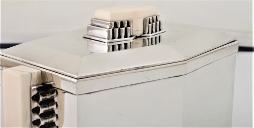 Antiquités -  CARDEILHAC Covered box in solid silver and ivory ART DECO period