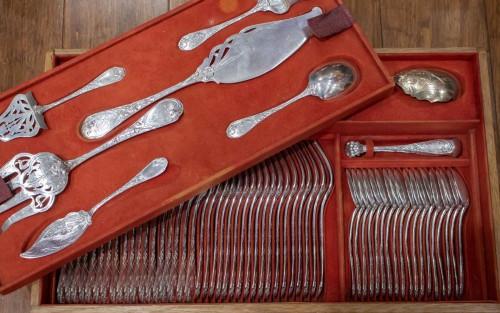 """PUIFORCAT Silver cutlery 207 pieces model """"Aux iris""""   - Art nouveau"""