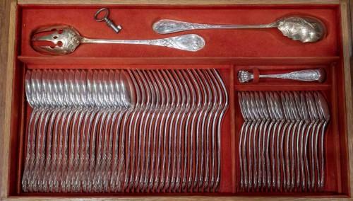 """Art nouveau - PUIFORCAT Silver cutlery 207 pieces model """"Aux iris"""""""