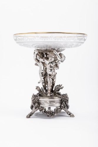 CARDEILHAC - Centerpiece in sterling silver crystal cut engraved  - Antique Silver Style Napoléon III